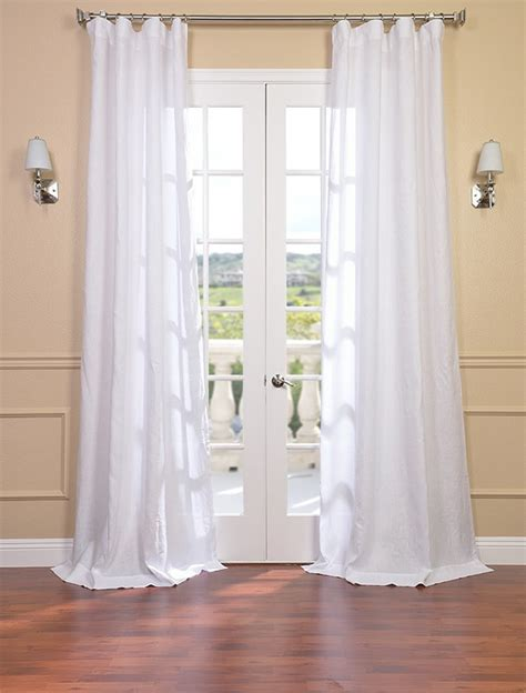 french pleat linen drapes signature purity white french linen sheer curtain panel ebay