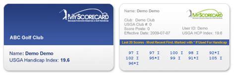 usga handicap card template usga handicap get one with myscorecard