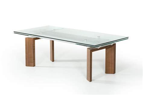 Walnut And Glass Dining Table Modrest Bijou Contemporary Extendable Walnut Glass Dining Table