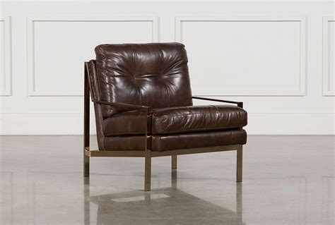 Living Spaces Accent Chairs Bryce Leather Accent Chair Living Spaces