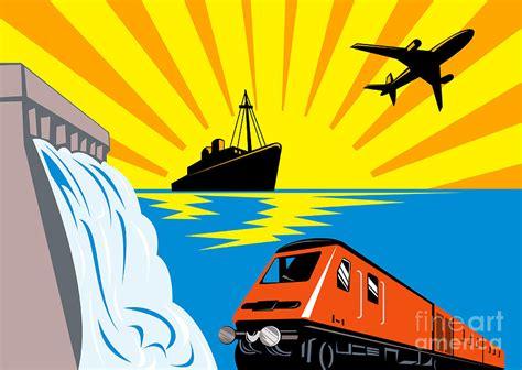 boat plane clipart train boat plane and dam digital art by aloysius patrimonio