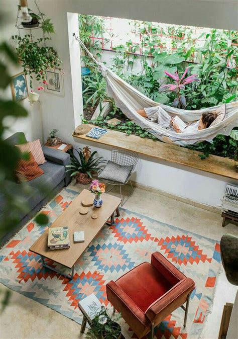 boho chic living rooms  indoor plants  swing chairs