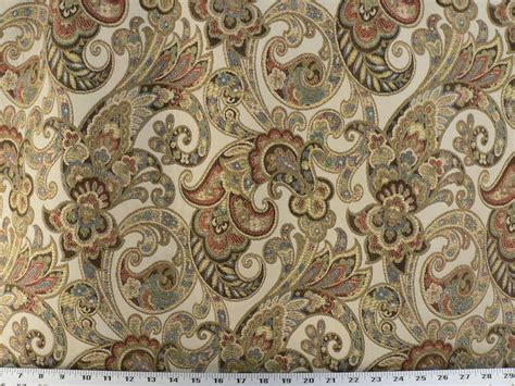 Ivory Upholstery Fabric Drapery Upholstery Fabric Woven Jacquard Paisley Floral