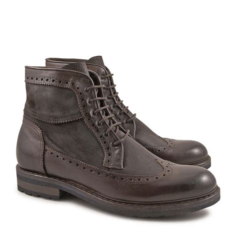 Handmade Italian Leather Boots - handmade s wingtip boots in vintage chocolate leather
