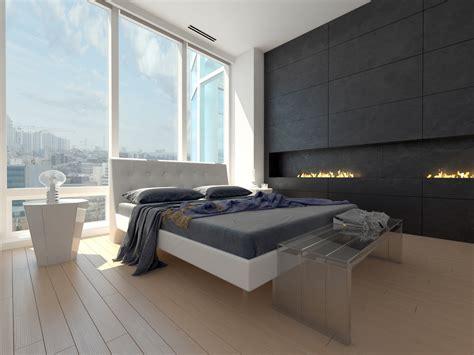 dormitorio minimalista  suelo de madera clara fotos