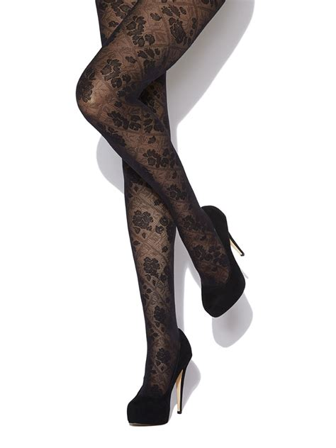 patterned opaque tights charnos opaque floral tights rose and diamond patterned