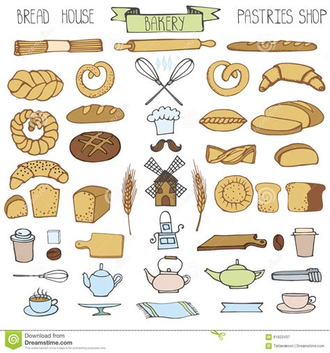 Pastry Kitchen Design Doodle Bakery Bread Icons Set Colored Vintage Stock Vector
