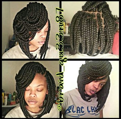 pics of a braided bob style with twisty type braided hair 690 best box braids locs twists images on