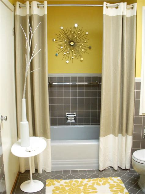 yellow grey bathroom accessorize everything for this perky powder room hgtv fan