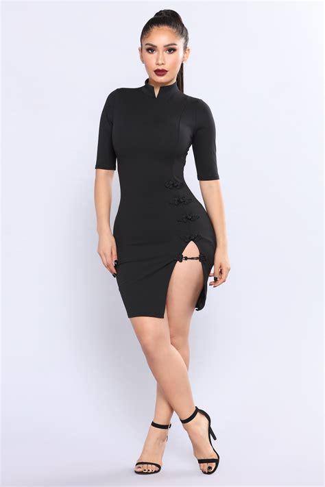 Side Slit kiko high side slit dress black