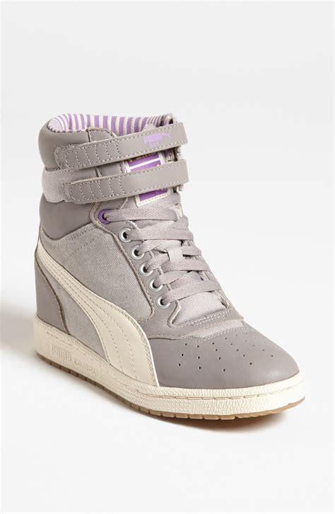 grey sneaker wedges sky wedge sneaker in gray grey white purple lyst