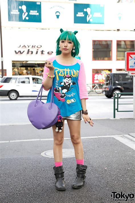 Ling Tosite Sigure Fan w/ Green Odango Hair, Eyeball Earrings & Heart Handbag
