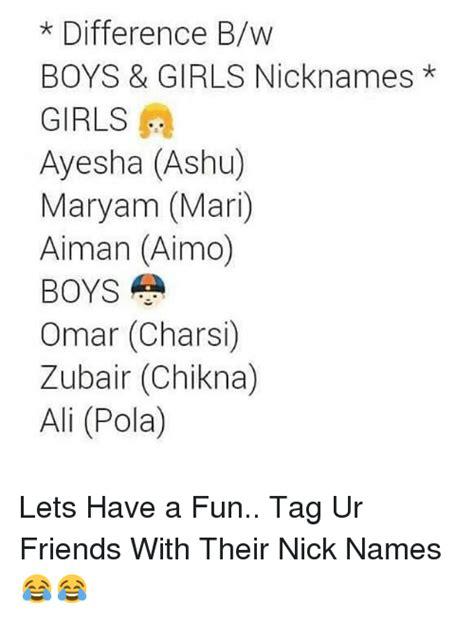 lettere per nickname difference bw boys nicknames ayesha ashu