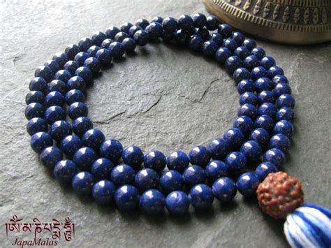 what is a guru bead lapis lazuli japa mala with rudraksha guru bead purified