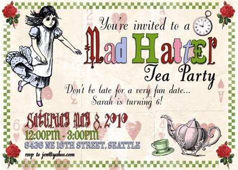 how to make mad hatter tea invitations