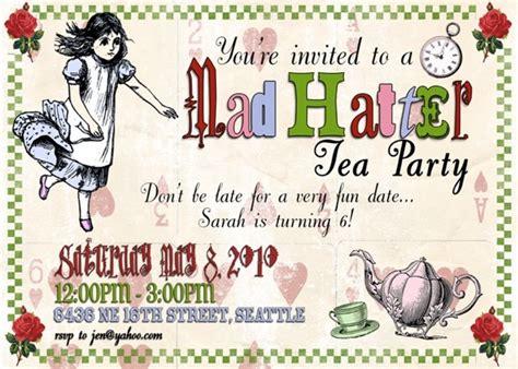 mad hatter tea invitations templates quotes invitation quotesgram
