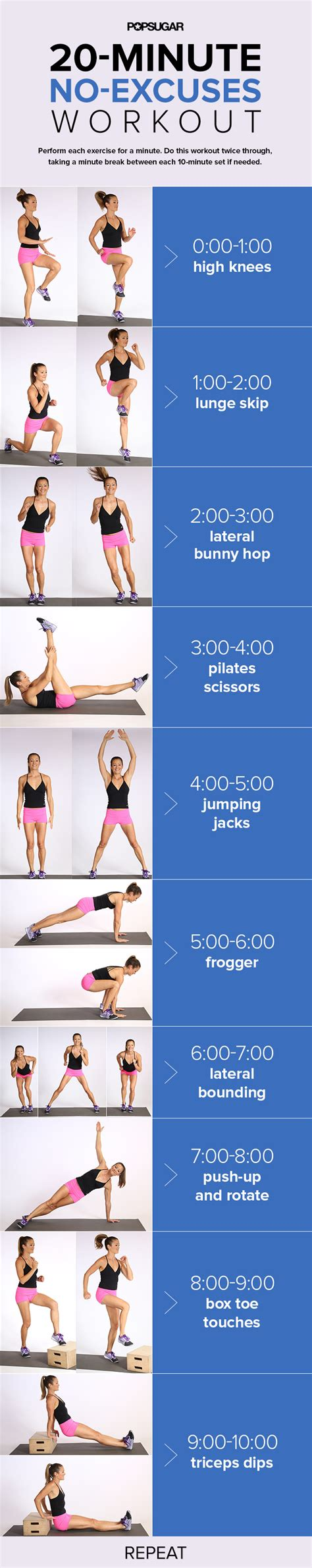 20 minute cardio workout no running required popsugar