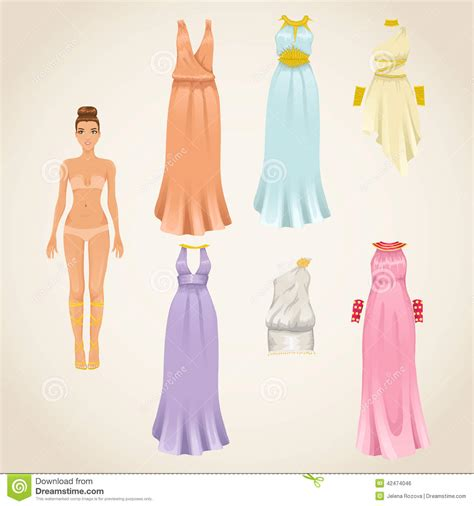 up doll images dress up doll with dresses stock vector image