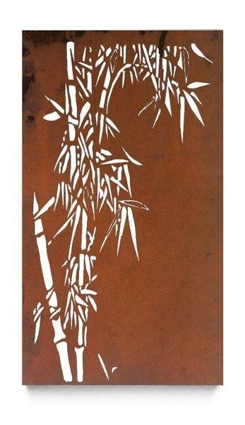 laser cut steel outdoor wall art single bamboo panel