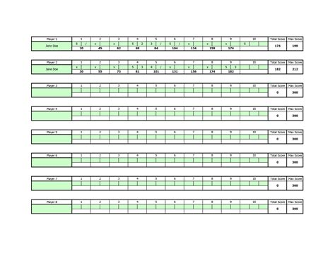 Bowls Score Cards Template by Bowling Scoresheet Template