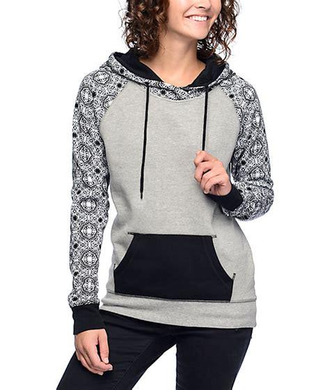 grey pattern hoodie empyre larissa pattern grey black hoodie at zumiez pdp