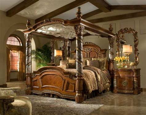 bedroom victorian style brown glaze wooden canopy bed  carved poles  brown bedding set