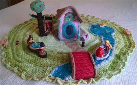 Crochet Mat Bag Pattern by Pdf Crochet Playmat Dollhouse Play Mat Playscape With
