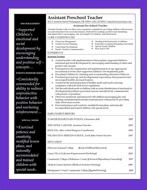 Preschool Teacher Resume Samples by Assistant Preschool Teacher The Resource Room