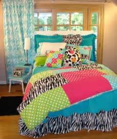Tween teen bedding bright multicolor patch zebra print girls bed set
