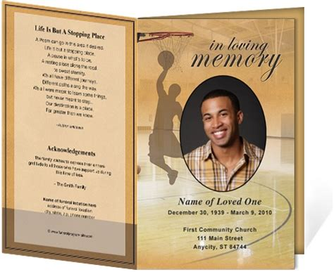 memorial bulletin template funeral bulletins basketball single fold funeral programs