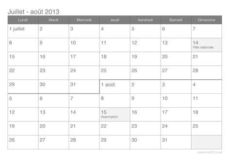 Calendrier Juillet Aout 2013 Calendrier Juillet Et Ao 251 T 2013 224 Imprimer