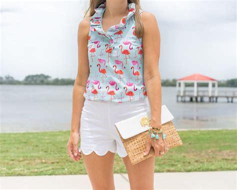 flamingo print ruffle top white scallop shorts mud pie