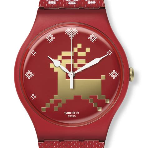 red swatch swatch red knit suoz172s the new swatch watch x mas