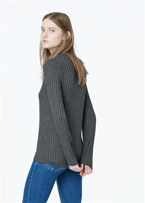 Bj 1295 Sleeve Rib Blouse lyst mango ribbed t shirt in gray