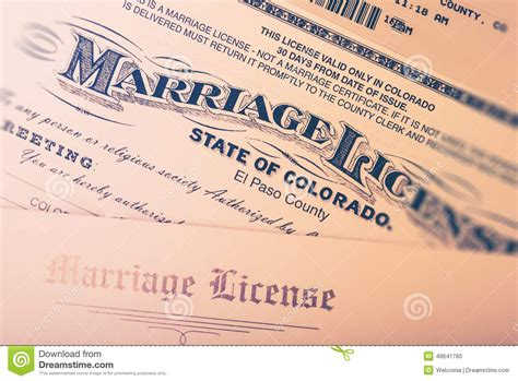 Colorado Divorce Records Free Marriage License Stock Photo Image 49641780