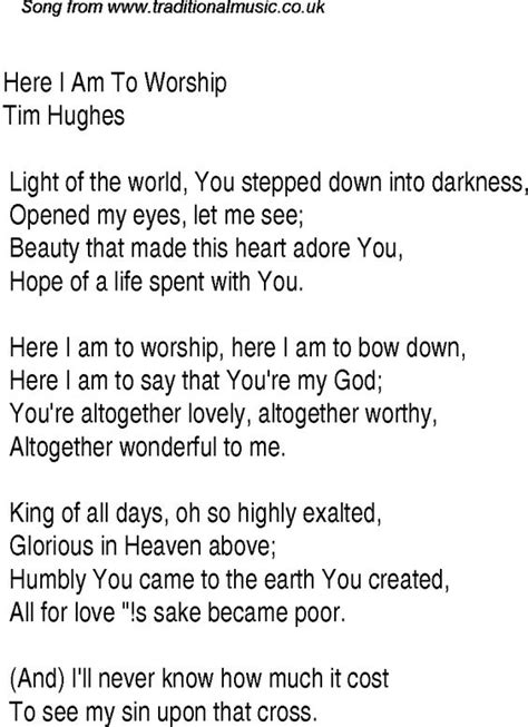 i am the light of the world hymn christian worship song lyrics christian worship song