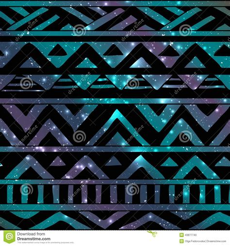 aztec tribal seamless pattern  cosmic background stock