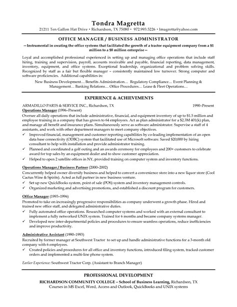 Resume Ideas For Managers by Resume Sles For Managers Najmlaemah