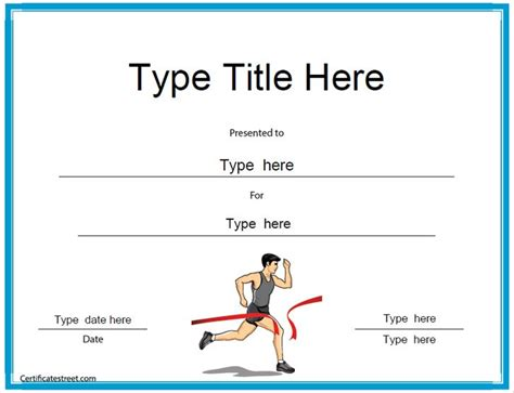 running certificates templates free sports certificates running award certificate template