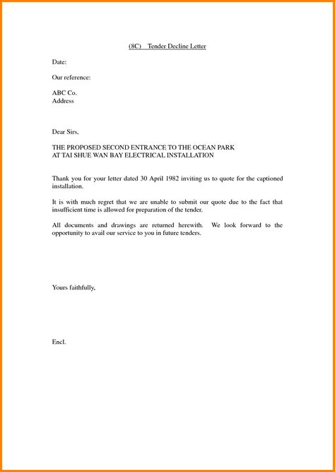 Tender Decline Letter Exle 10 Invitation To Tender Letter Ledger Paper