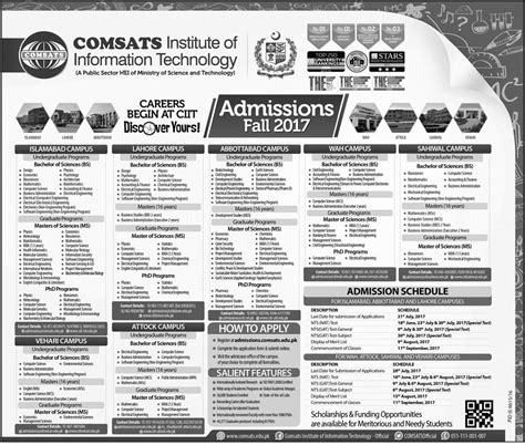 Comsats Mba Fee Structure by Comsats Abbottabad Admission Fall 2017 Schedule Apply