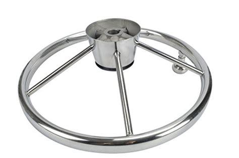 small fishing boats with steering wheel amarine made 5 spoke 13 1 2 inch destroyer style stainless