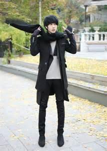 Teenage Guy Bedroom Ideas male korean black blazer black knit muffler black