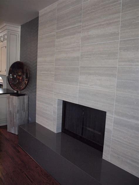 Contemporary tile fireplace contemporary living room chicago