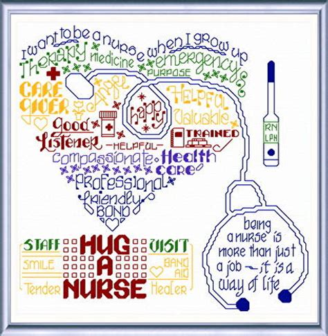 pattern out of words let s hug a nurse cross stitch pattern words