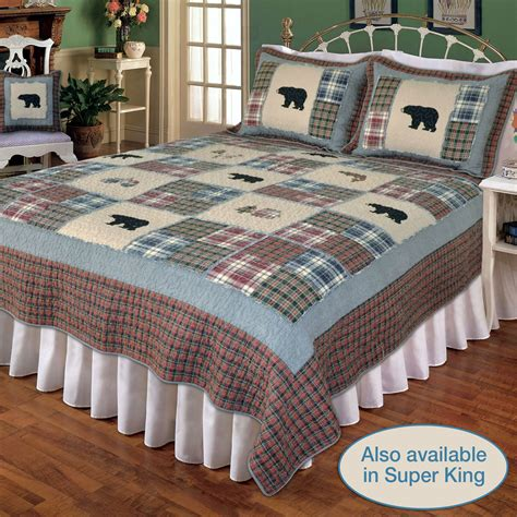 Patchwork Bed Quilts - smoky mountain plaid patchwork quilt bedding