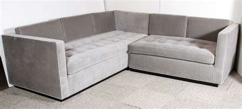 Gray Velvet Sectional by Luxe Modernist Sectional Sofa With Biscuit Tufting In Grey