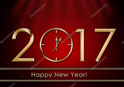 happy new year 2017 new year clock stock photo