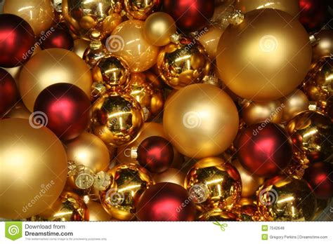 red and gold christmas baubles stock photo image 7542648