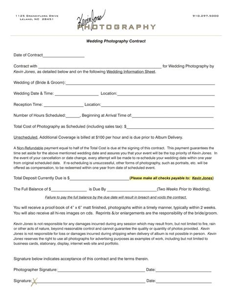 Wedding Photography Contract Kevin Jones Photography Contract Photography Pinterest Buffet Contract Template